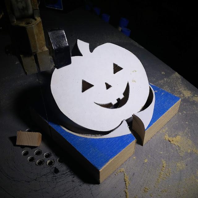 Handmade Wood jack-o-lantern freshly cut on my scroll saw.