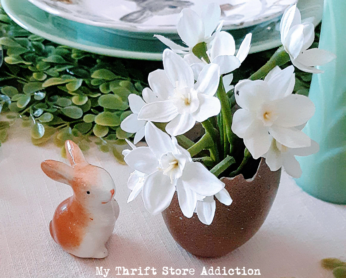 whimsical vintage Easter tablescape