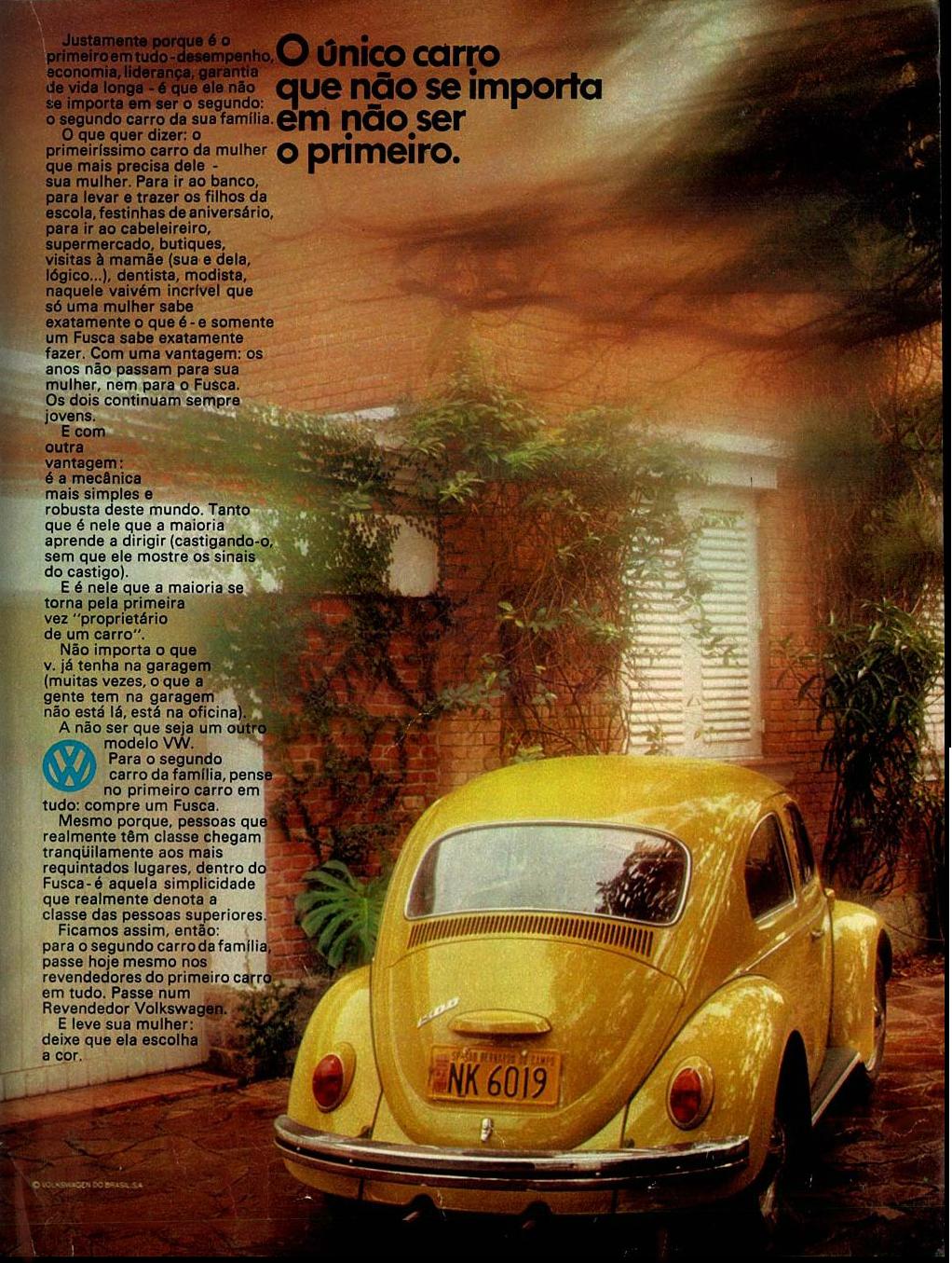 Anúncio de 1972 enaltecendo as vantagens do Fusca junto ao cotidiano das pessoas