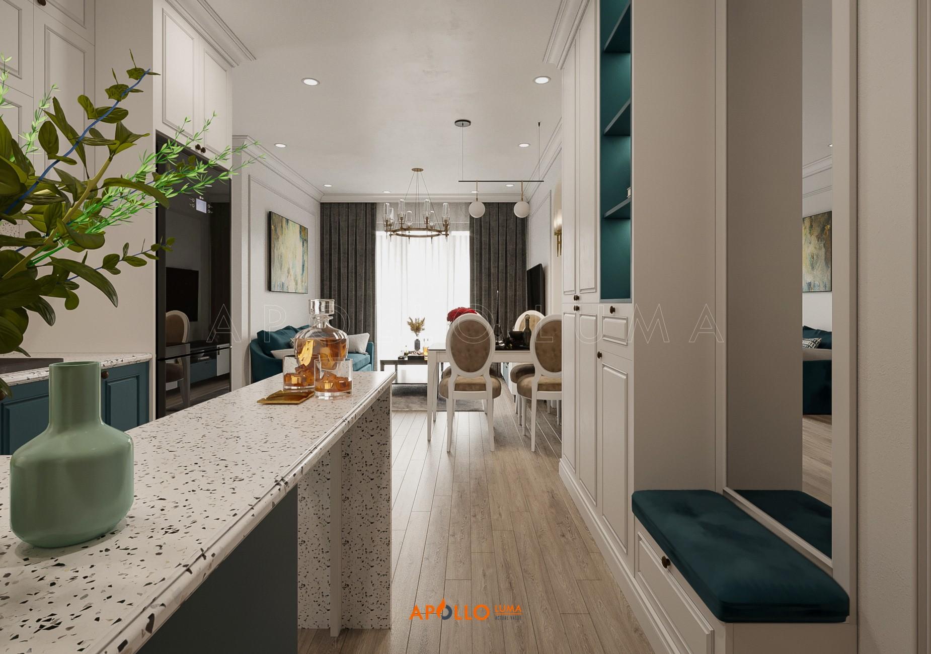 Thiết kế nội thất căn hộ 3 phòng ngủ Vinhomes Ocean Park phong cách tân cổ điển