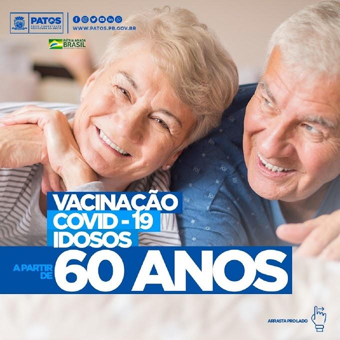 Covid-19: Secretaria de Saúde de Patos divulga calendário de vacinação para pessoas de 60 anos acima