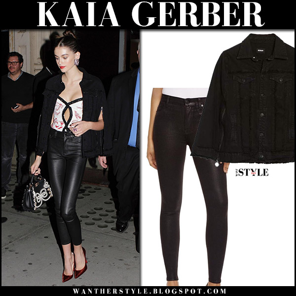 Kaia Gerber in black cape jacket and black coated skinny pants hudson jeans with red pumps october 20 2017 model style