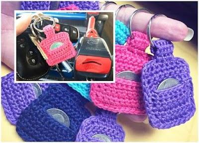 Llaveros crochet para monedas carros compra