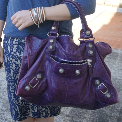blue lace pencil skirt, Balenciaga raisin purple 2009 giant silver G21 hardware work bag | away from the blue
