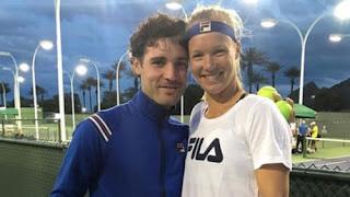 Kiki Bertens Practices With Her Husband Remko De Rijke
