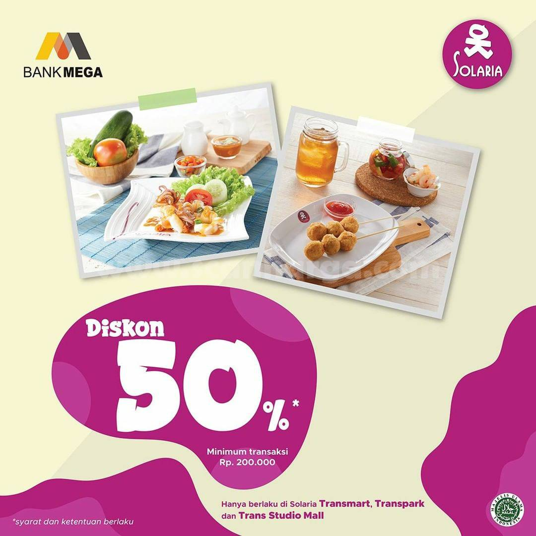 Promo Solaria Diskon 50% dengan Kartu Kredit Bank Mega