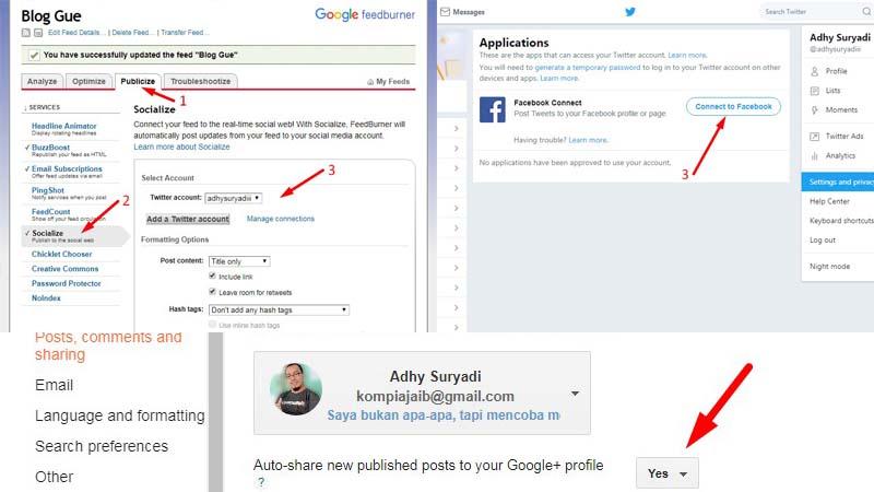 Cara Otomatis Share Post Ke Twitter, Facebook, dan Google+ 2017