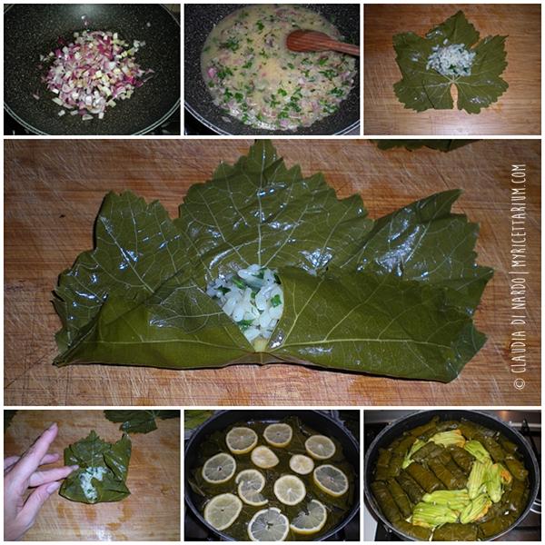 Dolmadakia o Dolmades (involtini di foglie di vite, versione cretese)