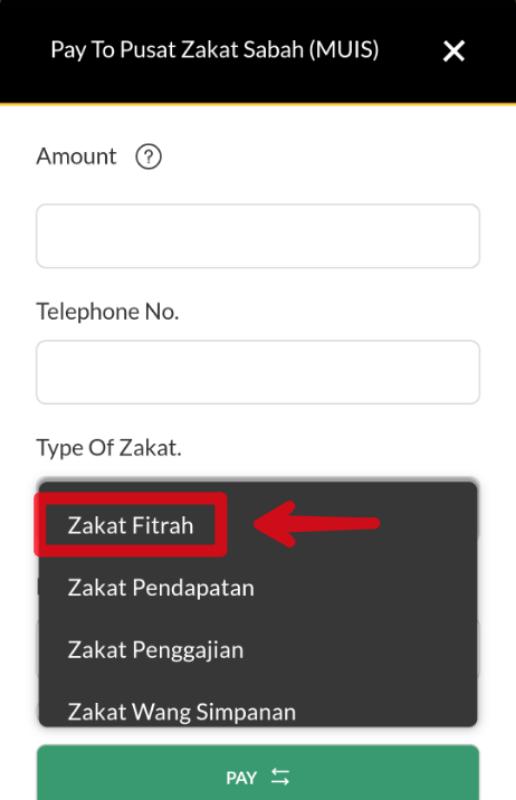 Cara Bayar Zakat Fitrah Sabah Secara Online Banking