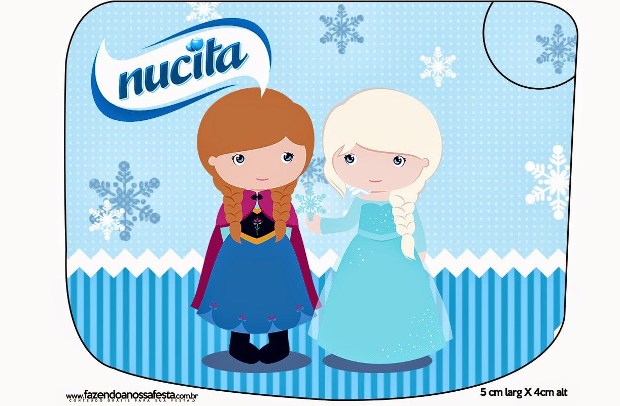 Etiqueta Nucita para Imprimir Gratis de Frozen Niñas para Navidad Azul.