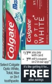 FREE Colgate Optic White Toothpaste at CVS 9-26-10-2