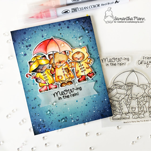 Meow-ing in the Rain Card by Samantha Mann | Newton's Rainy Day Trio Stamp Set and Banner Trio Die Set by Newton's Nook Designs #newtonsnook #handmade