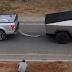 Tesla Cybertruck vs Ford F-150 in a tug of war video