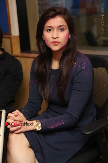 Actress Mannara Chopra Stills in Blue Short Dress at Rogue Song Launch at Radio City 91.1 FM  0050.jpg