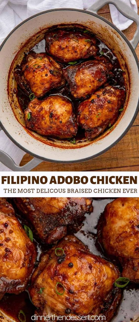 Adobo Chicken is a classic Filipino recipe cooked in soy sauce, garlic, vinegar and peppercorns that makes the most delicious braised chicken ever.