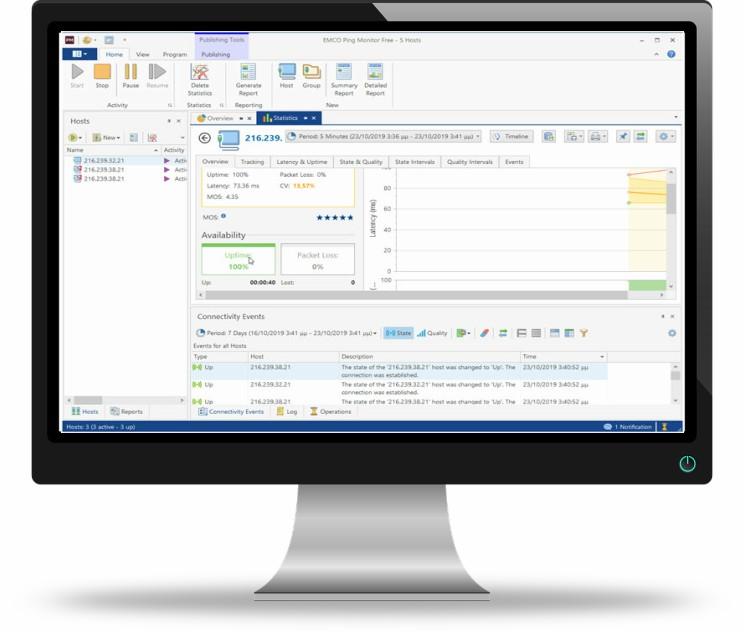 EMCO Ping Monitor  : Παρακολουθήστε  τις καταστάσεις σύνδεσης ενός ή πολλών κεντρικών υπολογιστών