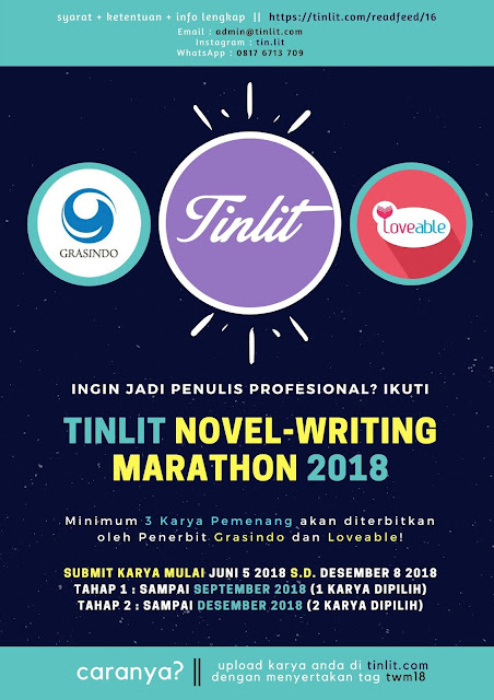 Lomba Menulis Novel Umum TinLit Writing Marathon 2018