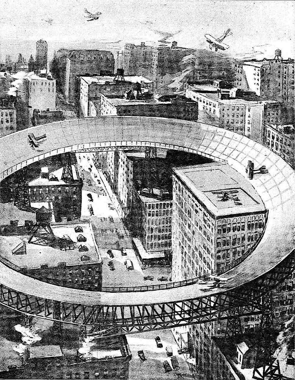 a conceptual retrofuture urban airport illustration, 1920s?