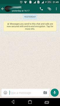 whatsapp yellow message