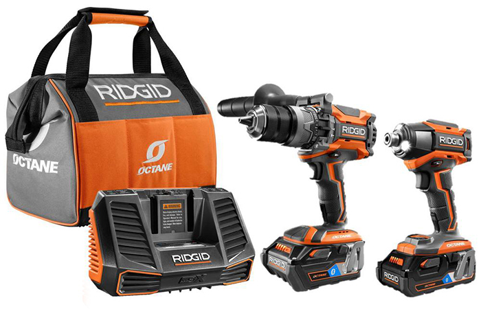 Ridgid OCTANE Cordless Brushless combo kit with hammer drill, impact driver, two OCTANE batteries and charger