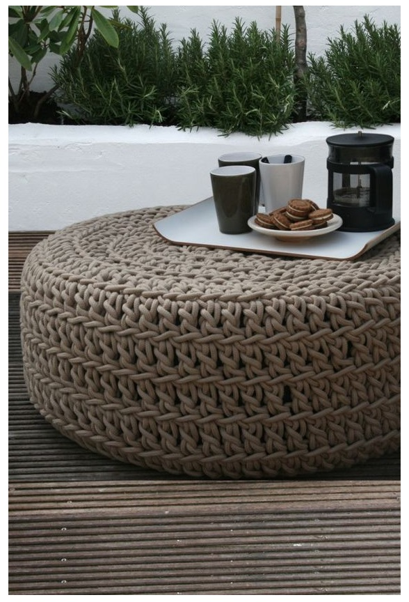 floor pouf Straw pouf Pouf ottoman coffe table bean bag lounge sofa with brown style minimalist design