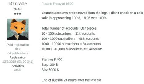 يوتوب : مئات الحسابات المخترقة معروضة للبيع على الدارك ويب