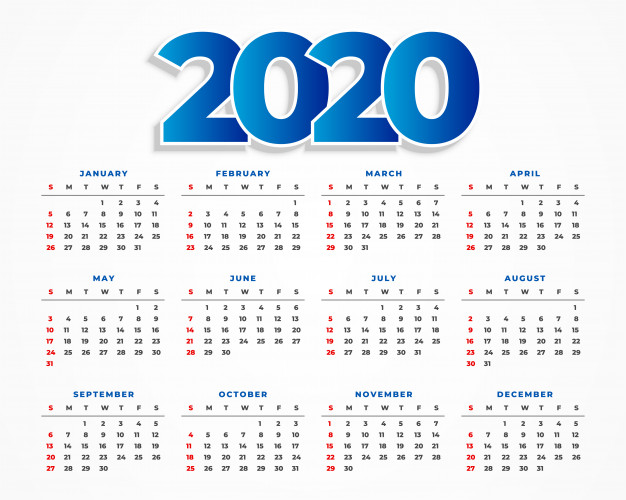 Clean 2020 calendar template design Free Vector