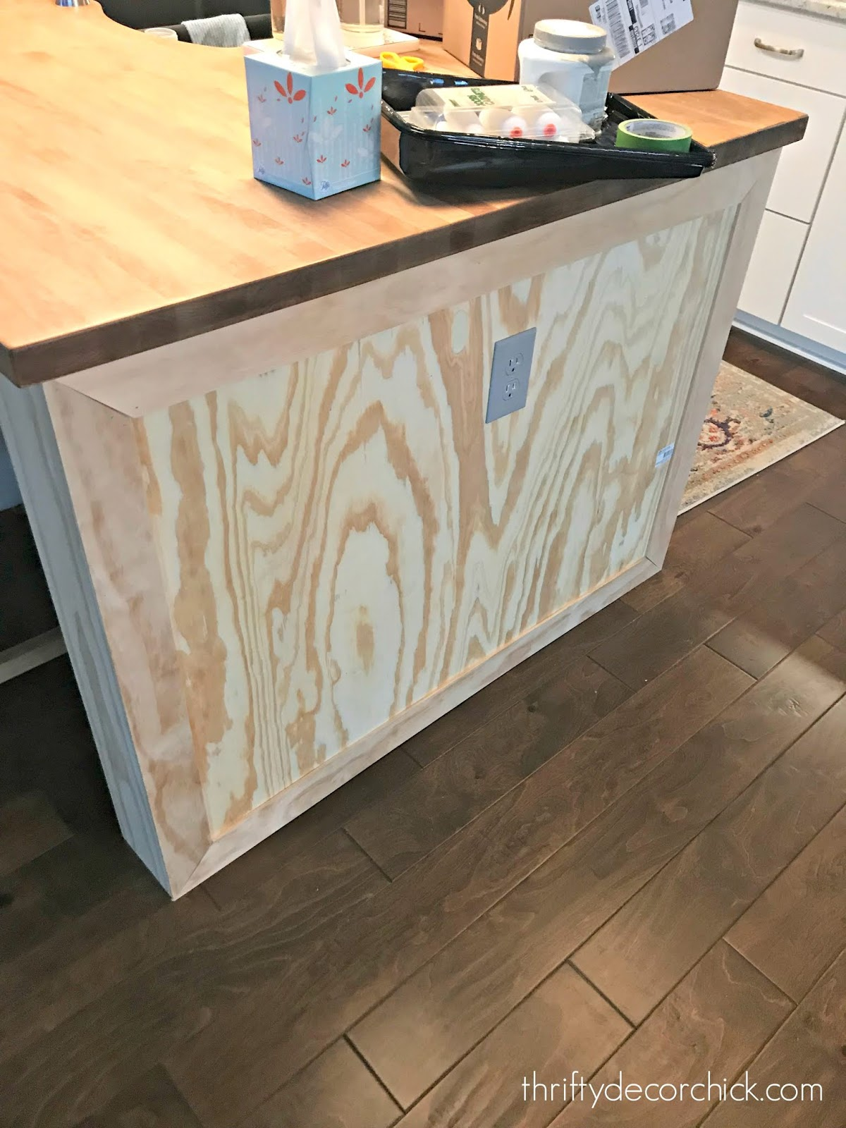 How To Customize A Plain Kitchen Island With Side Panels Thrifty Decor Chick