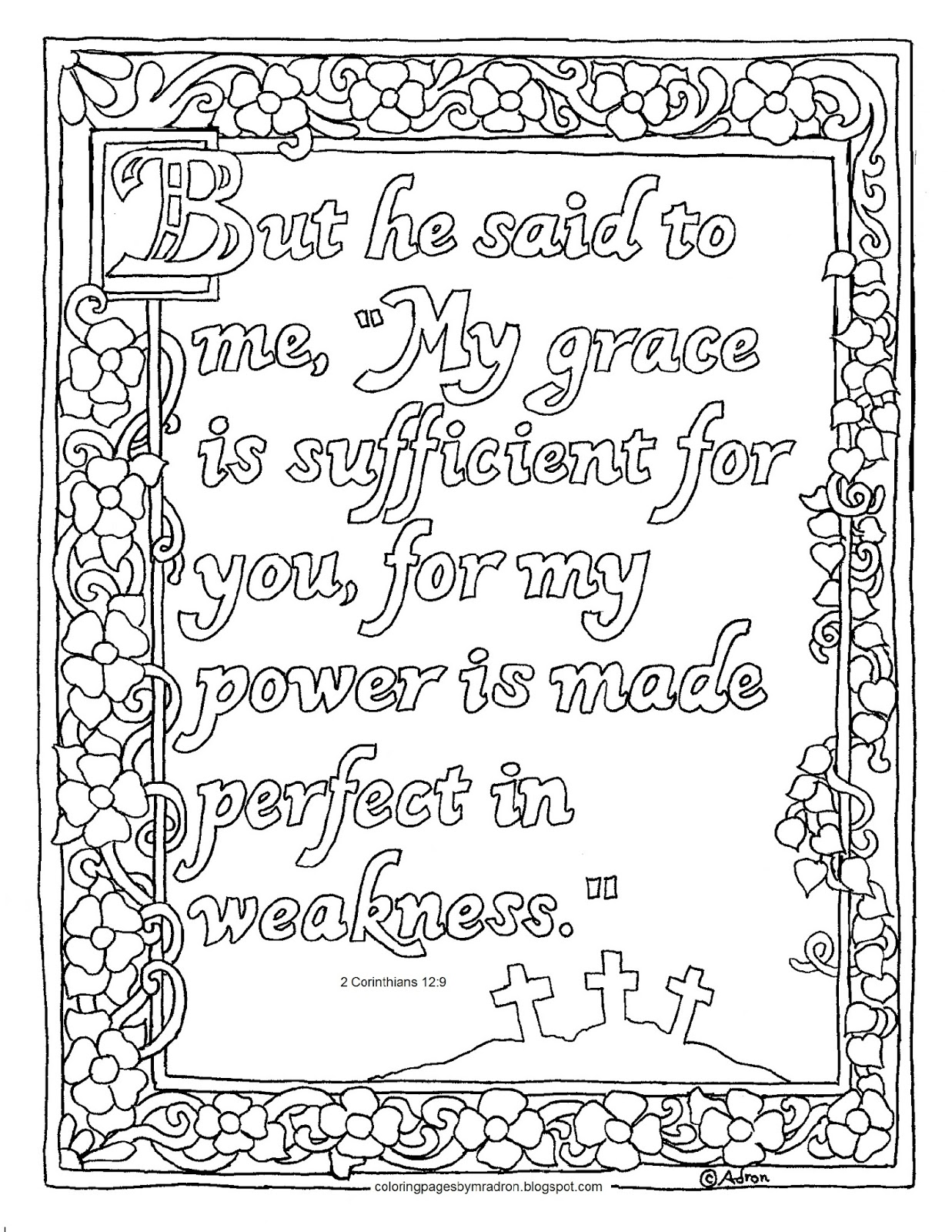 Coloring Pages For Kids By Mr Adron Printable My Grace Is Sufficent For You 2 Corinthians 12