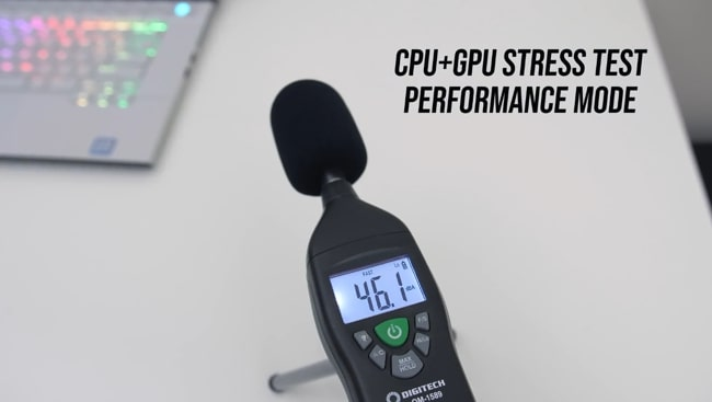 Digitech's sound level meter was measuring the noise produced by fans during CPU+GPU stress tests at performance mode of Dell Alienware m115 r2 gaming laptop.