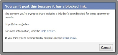 Facebook blocks ShareThis links