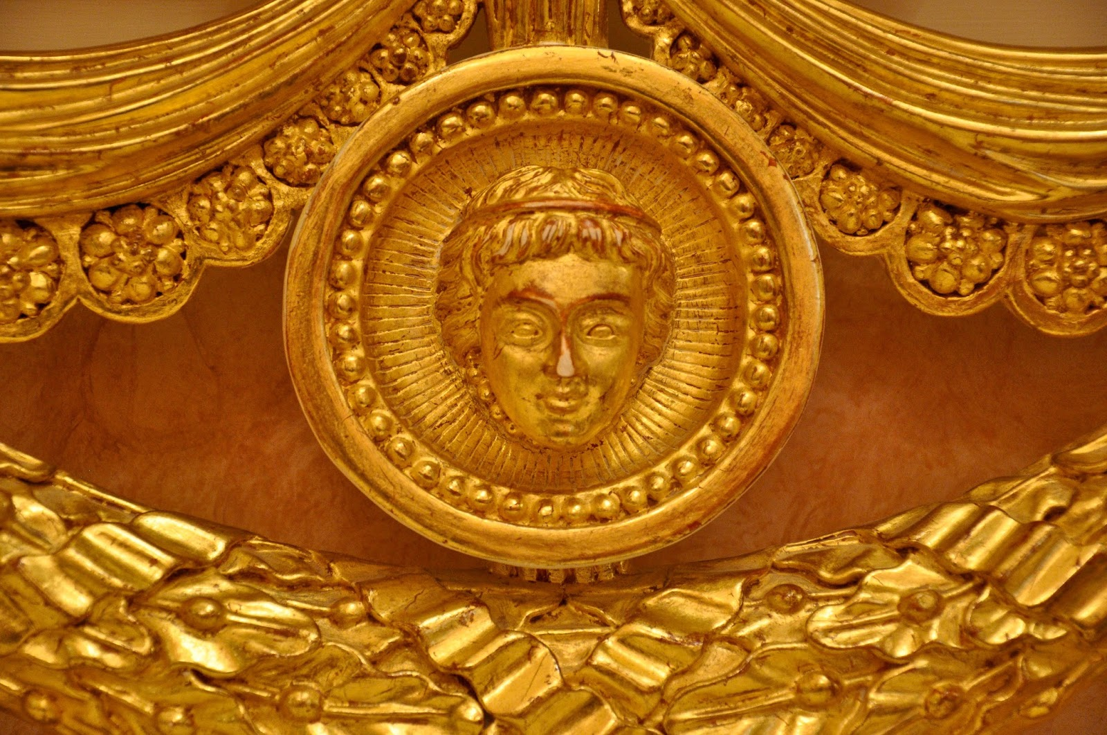 Close-up of the backrest of a bench, La Fenice, Venice, Italy