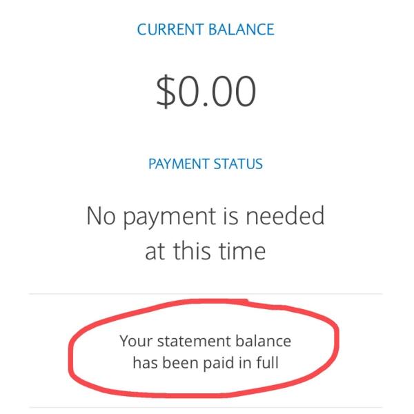 Zero balance statement