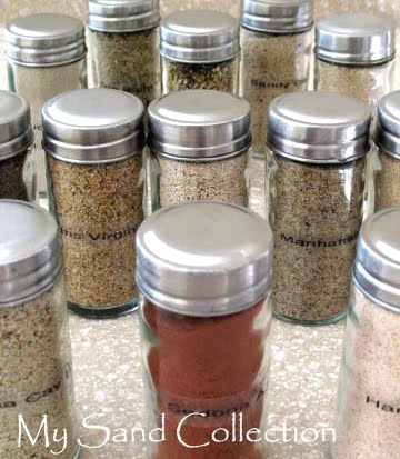 beach sand in spice jars