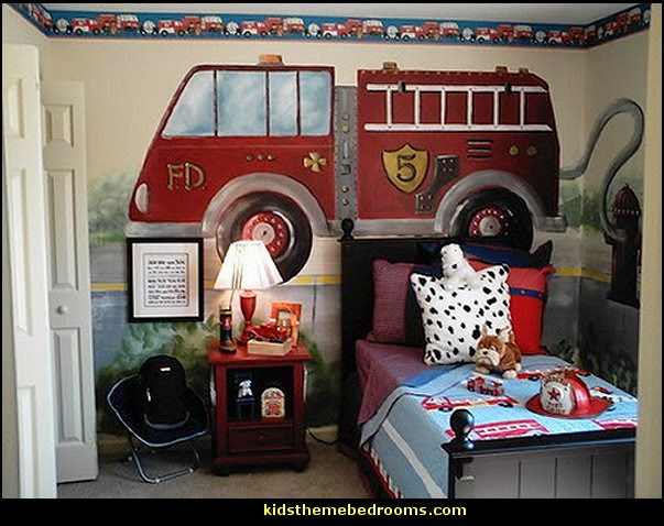 fire dept themed room-firetruck wall mural