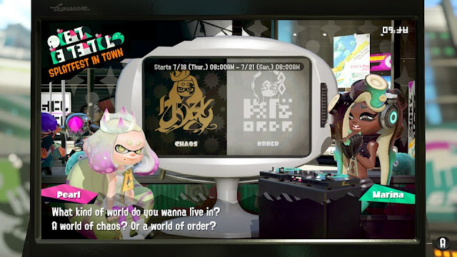 Splatoon 2 Splatfest Splatocalypse question world of chaos or order to live in Pearl Marina