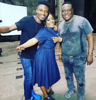 BBNaija's Efe joins Nollywood, Pictures of him and Mr Ibu on set