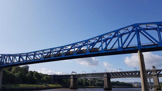 A Tyne & Wear Metro train crossing the Queen Elizabeth II bridge in Newcastle upon Tyne