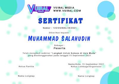 Download Contoh Template Sertifikat Seminar Online (Webinar) Versi 2