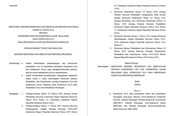 Permendikbud Nomor 24 tentang Kompetensi Inti dan Kompetensi Dasar Pelajaran pada Kurikulum 2013