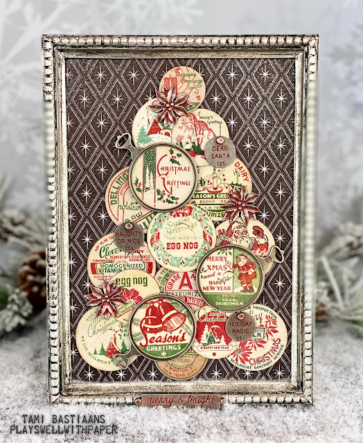 Tim Holtz 2020 Christmas Plays Well With Paper: Milk Cap Christmas Tree Version 2