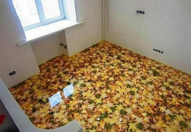 desain kamar lantai unik tiga dimensi tema alam dan daun