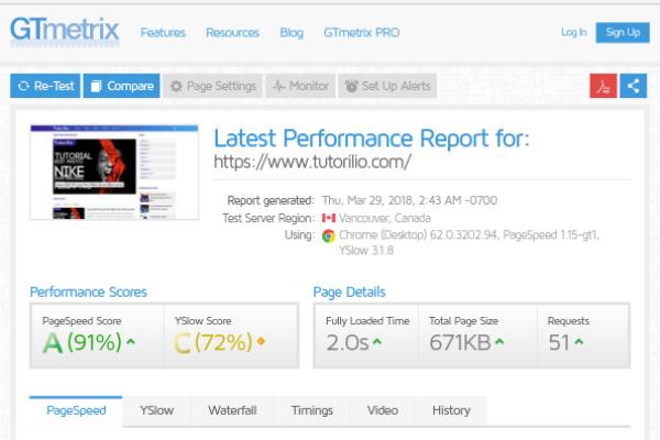 Cek kecepatan website, cara menggunakan Gtmetrix, skor pagespeed di gtmtrix.