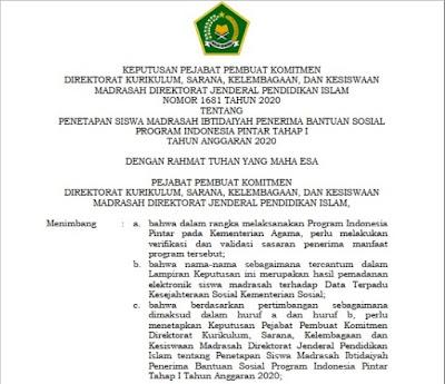 SK dan Lampiran Penerima PIP Tahap I Jenjang MI dan MTs Provinsi Sumatera Utara Tahun Anggaran 2020
