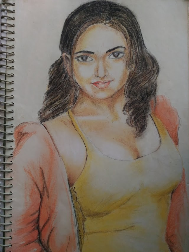 Dry Pastel drawing lady