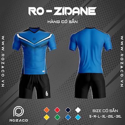 Áo Không Logo Rozaco RO-ZIDANE Màu Xanh Bích