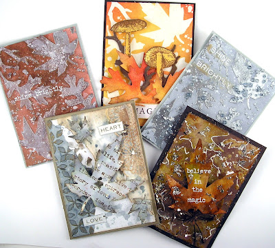 Sizzix Fall Foliage Ranger Mini Layering Stencils Set 22 Leaves and ATC's For The Funkie Junkie Boutique
