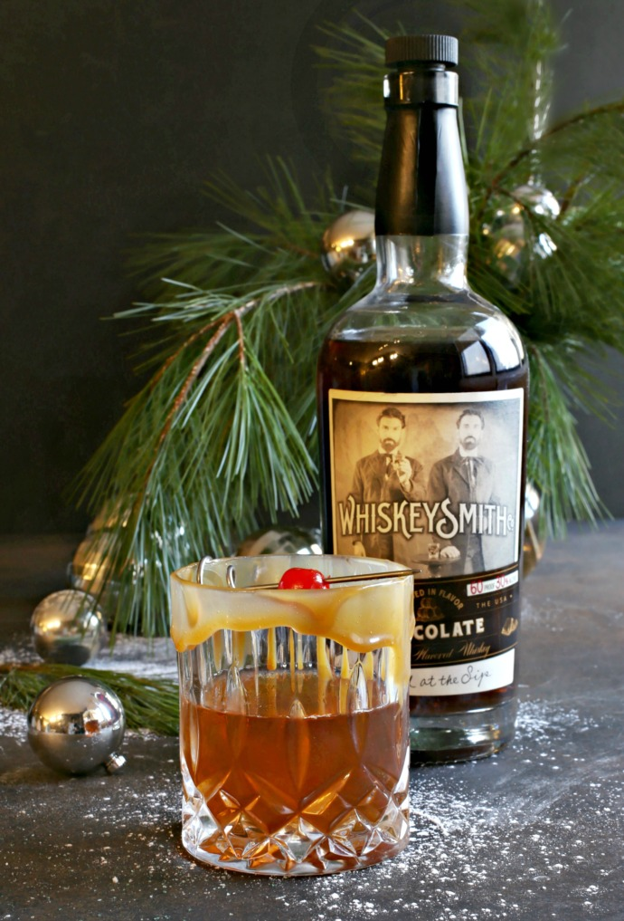 Recipe for a Manhattan cocktail variation made with chocolate bourbon, dry vermouth, bitters and caramel liqueur.
