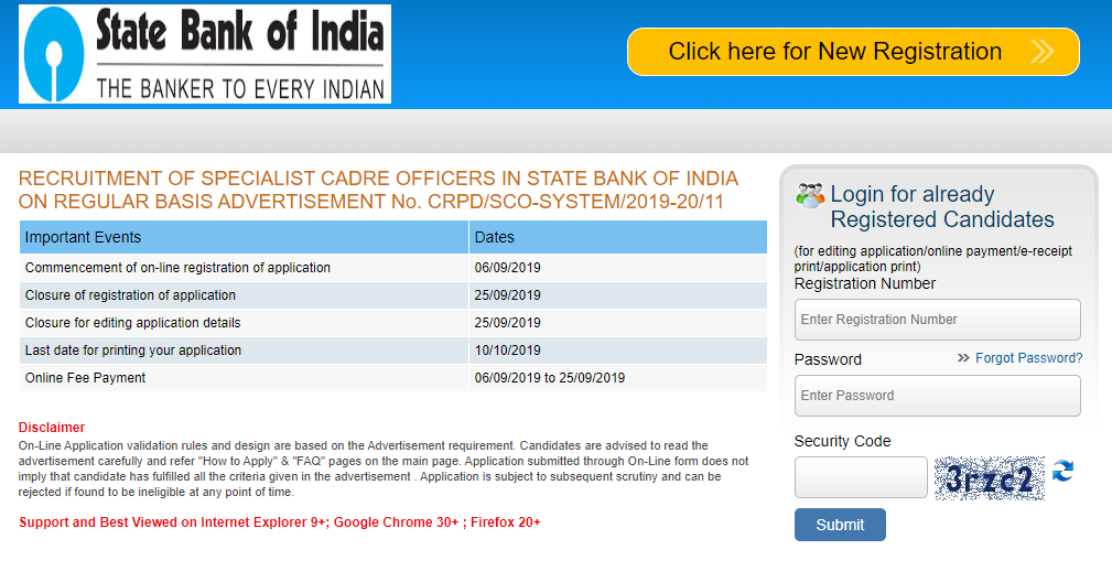 state bank of india specialist officer online form 2019