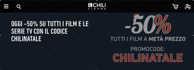 Super-Sconti natalizi su Chili Cinema: metà prezzo su tutti i film e le serie TV.